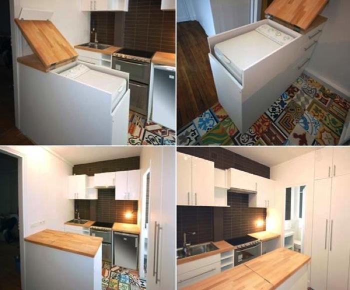 Avec un tel meuble dans la cuisine, vous feriez d'une pierre deux coups. Il pourrait dissimuler le lave-linge, et servirait par le fait même d'îlot de cuisine. Celui que vous voyez sur la présente photo a été fabriqué sur mesure et conçu spécifiquement pour gagner de la place dans une petite cuisine. En effet, sur le côté, il est doté de trois tiroirs, très pratiques pour le rangement.