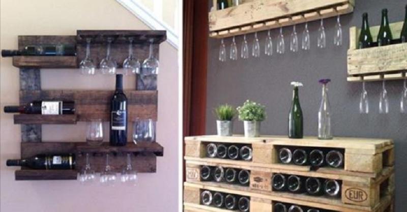 12 id es inspirantes pour ranger vos bouteilles de vin en vous servant de palettes de bois. Black Bedroom Furniture Sets. Home Design Ideas