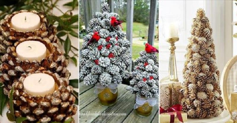 12 nouvelles id es pour bricoler de belles d corations de no l avec des pommes de pin. Black Bedroom Furniture Sets. Home Design Ideas
