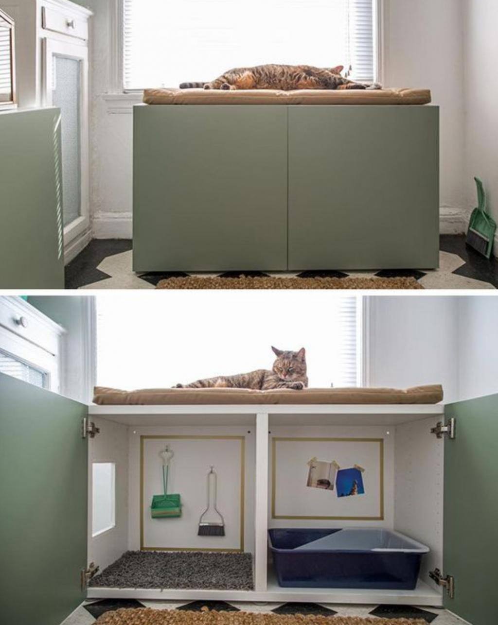 14 fa ons astucieuses de cacher la liti re du chat en l int grant au d cor de la maison. Black Bedroom Furniture Sets. Home Design Ideas