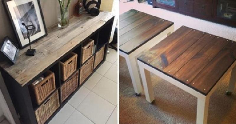 Relookez un vieux meuble ikea avec du bois de palettes 10 - Planche en bois ikea ...